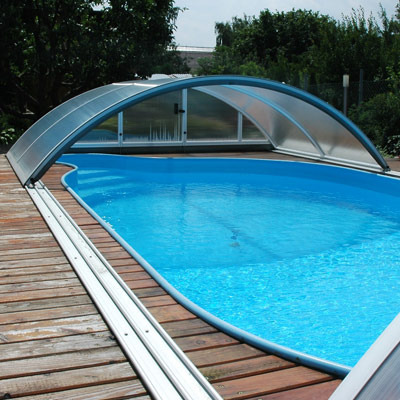 Abri mi haut t lescopique klassik c pour piscine de 10 x 5 for Prix piscine 10x5m