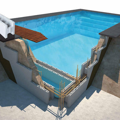 Kit piscine b ton astral first bloc id al pour l for Kit piscine beton