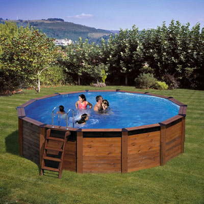 Piscine hors sol bois gre hawaii ronde for Piscine bois ronde
