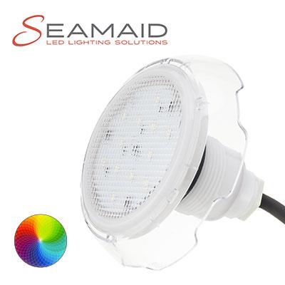 Mini projecteurs led piscine seamaid blanc et couleur for Projecteur piscine led