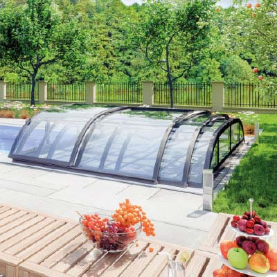 Abri de piscine silhouette for Prix dome piscine