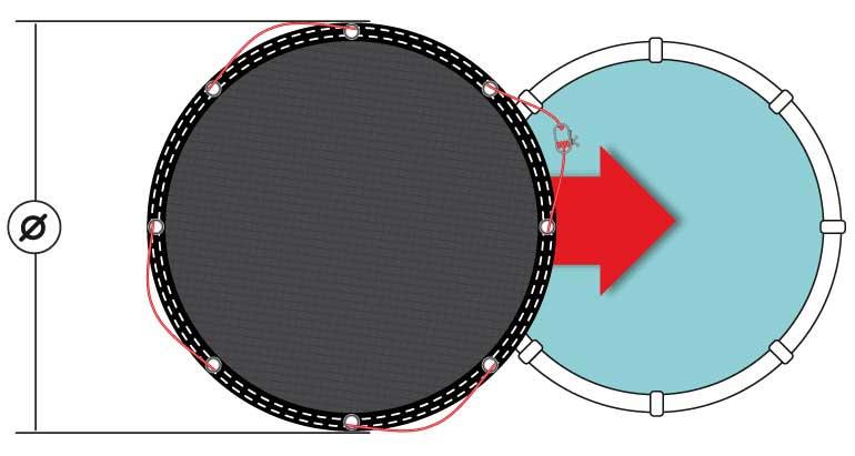 schema des dimensions de la bache d hiver pour piscine ronde ou ovale