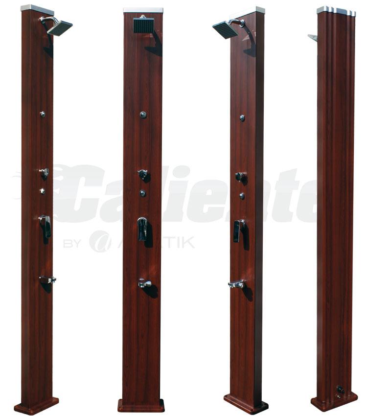 douche solaire caliente square wood 28 l brumisateur. Black Bedroom Furniture Sets. Home Design Ideas