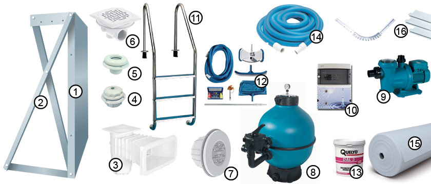 Composition du kit piscine TRADIPOOL PLUS