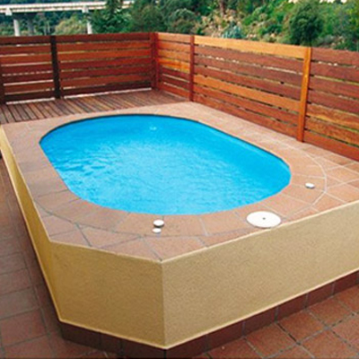 Mini piscine formentera coque polyester for Piscine hors sol plastique