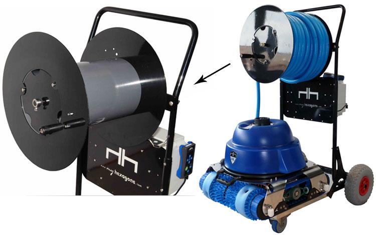 Robot pour piscine publique hexagone murena 51 m for Robot piscine sans fil