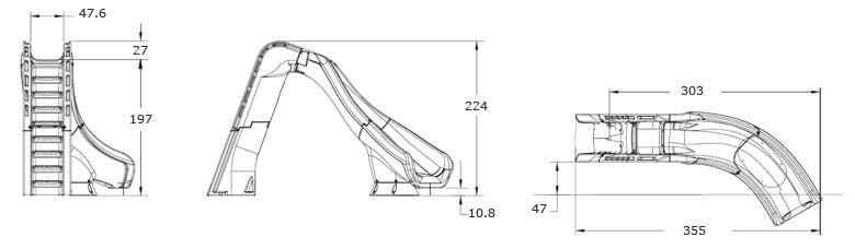 Dimensions du toboggan pour piscine TYPHOON