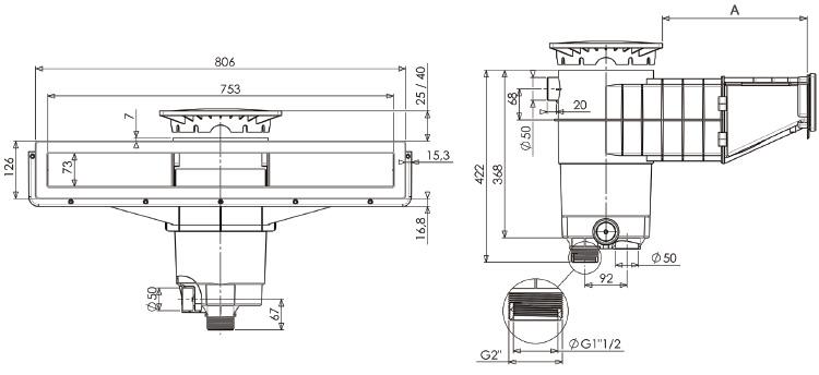 skimmer el gance a800 weltico en abs compatible avec tout rev tement. Black Bedroom Furniture Sets. Home Design Ideas