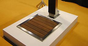 douche solaire pluvium en inox et bois ipe. Black Bedroom Furniture Sets. Home Design Ideas