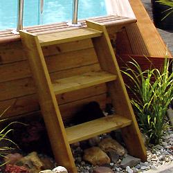 escalier en bois exotique pour acc s aux piscines hors sol. Black Bedroom Furniture Sets. Home Design Ideas