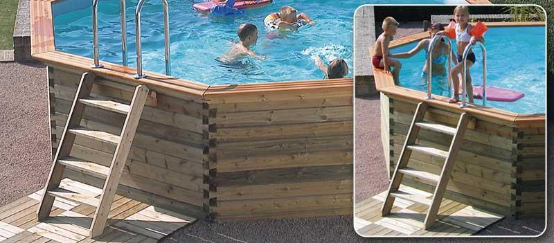 Escalier en bois exotique pour acc s aux piscines hors sol gardipool - Escalier bois pour piscine hors sol ...