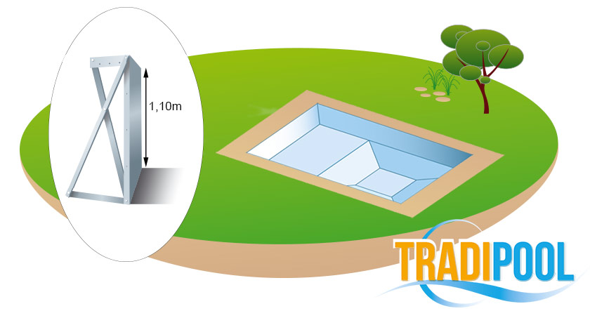 Kit piscine acier galvanis tradipool plus for Piscine galvanise