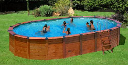 Piscine hors sol bois gre hawaii ovale for Montage piscine en bois