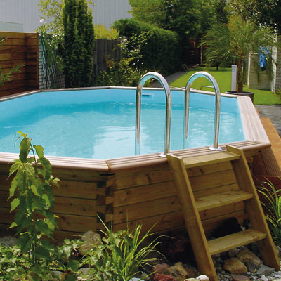 Piscines bois hors sol ou enterrer rectangulaires for Piscine hexagonale en bois