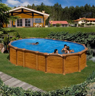 piscine hors sol imitation bois mauritus - Piscine Hors Sol Metal Aspect Bois