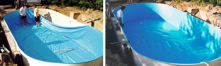 Kit piscine acier electrozingu mahogany for Liner piscine acier
