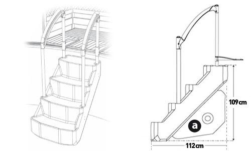 Escalier amovible voie royale 4 marches de lumi o piscine for Escalier piscine amovible