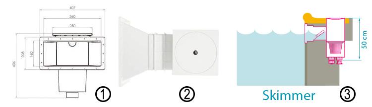 dimensions skimmer pieces sceller - Piece A Sceller Pour Piscine Beton