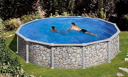 piscine acier imitation pierre
